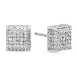 .925 Sterling Silver Square 3D Micro Pave Screw Back Earrings + Microfiber