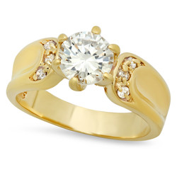 Gold Plated Round CZ Solitaire Ring w/Contoured CZ Accent Band + Microfiber
