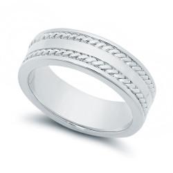 Standard Fit Rhodium Plated Braided Wedding Band Ring + Microfiber