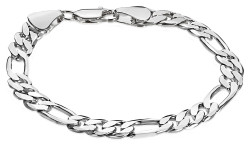 7.5mm Rhodium Plated Flat Figaro Chain Bracelet