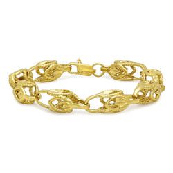 9mm Textured 14k Yellow Gold Plated Hollow Chain Link Bracelet