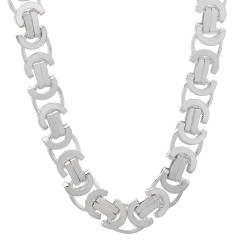 Men's 8mm Solid .925 Sterling Silver Flat Byzantine Chain Necklace