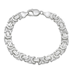 Men's 8mm High-Polished .925 Sterling Silver Flat Byzantine Chain Necklace, 7 inches