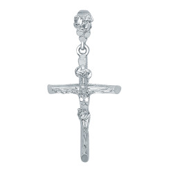 Rhodium Plated 36mm x 5.6 cm Wood Textured Titulus Crucifix Pendant + Microfiber