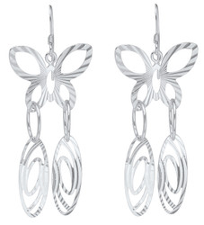 Sterling Silver Nickel-Free Butterfly Cut Loop Dangling Earrings - Made in Italy