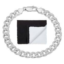 8mm .925 Sterling Silver Diamond-Cut Flat Curb Chain Bracelet