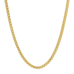 2.3mm High-Polished 0.25 mils (6 microns) 14k Yellow Gold Plated Square Box Chain Necklace, 7 inches