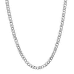 4mm High-Polished 0.25 mils (6 microns) Rhodium Plated Flat Beveled Curb Chain Necklace, 7 inches