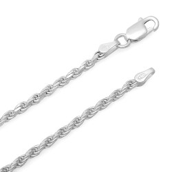 2.2mm .925 Sterling Silver Diamond-Cut Twisted Rope Chain Necklace + Gift Box