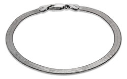 4.5mm High-Polished 0.16 mils (4 microns) Black Plated Silver Flat Herringbone Chain Necklace, 7'-30
