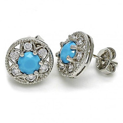 11.5mm Rhodium Plated Blue Opal Stud Earrings, 11.5mm