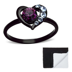 Stainless Steel IP Black Plated Amethyst Heart Cubic Zirconia Ring