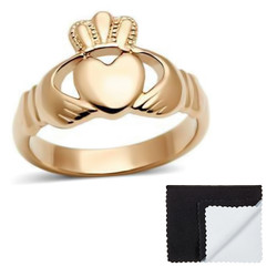 Stainless Steel IP Rose Gold Plated Irish Claddagh Heart Ring