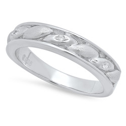 4.1mm Sterling Silver Italian Crafted CZ Accented Ellipse Shaped Inlay Wedding Band + Polishing Cloth