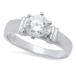 Round Brilliant Cut CZ Solitaire 4.4mm Sterling Silver Italian Crafted Wedding Ring + Polishing Cloth