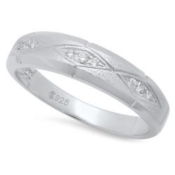 925 Sterling Silver Italian Crafted Diamond-Cut & Textured 4.9mm CZ Wedding Band + Bonus Polishing Cloth