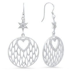 Sterling Silver Italian Crafted CZ Accented Heart & Star 27mm Round Drop Earrings + Bonus Polishing Cloth