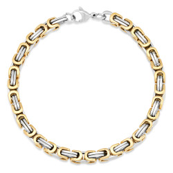 Men's 5.5mm Polished 0.16 mils (4 microns) 14k Yellow Gold Plated Stainless Steel Flat Byzantine Chain Bracelet