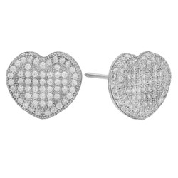 Rhodium Plated Sterling Silver Pave CZ 3D Heart Earrings + Microfiber