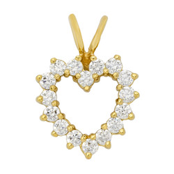 14k Gold Plated Round Brilliant Cubic Zirconia Heart Charm Pendant