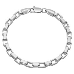 5mm Rhodium Plated Square Box Chain Bracelet