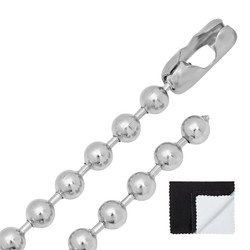 Men's 8mm High-Polished Stainless Steel Ball Military Necklace