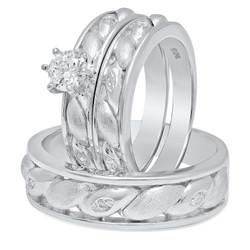Couples Sterling Silver Italian Crafted Ellipse/CZ Inlay 3-Piece Wedding Ring Set + Bonus Polishing Cloth