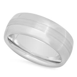 Cobalt 8mm Domed Comfort Fit Wedding Ring with Brushed Center + Microfiber