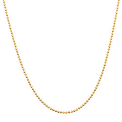 2mm 14k Yellow Gold Plated Silver Military Ball Chain Necklace