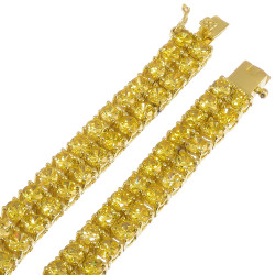 8mm Chunky 14k Yellow Gold Plated Cubic Zirconia Flat Link Chain Necklace