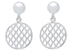Sterling Silver Nickel-Free Ball with Dangling Round Woven Earring - Made in Italy