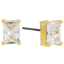 Rectangular Cut Cubic Zirconia Gold Plated Stud Earrings + Microfiber