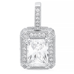 Emerald Cut CZ Solitaire 10mm x 12mm Sterling Silver Italian Crafted Pave CZ Pendant + Polishing Cloth