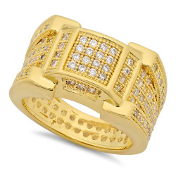 14k Gold Plated Micropave CZ 13.5mm Framed Square Center Ring Band + Microfiber
