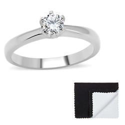 Stainless Steel Round Cut Cubic Zirconia Promise Ring