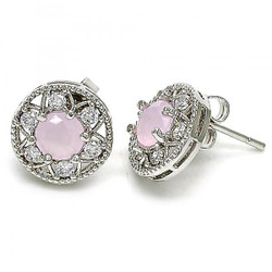 11.5mm Rhodium Plated Pink Tourmaline Opal Stud Earrings, 11.5mm