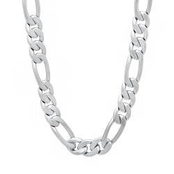 7mm Rhodium Plated Flat Figaro Chain Necklace