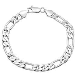 7mm High-Polished 0.25 mils (6 microns) Rhodium Plated Flat Figaro Chain Necklace, 7'-36
