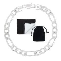 8.1mm .925 Sterling Silver Diamond-Cut Flat Figaro Chain Bracelet