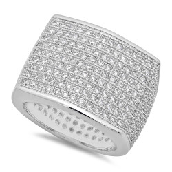 Men's 18mm Rhodium Plated Clear Cubic Zirconia Square Iced Out Ring + Gift Box