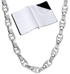 Men's 6mm Chunky High-Polished Tungsten Dark Silver Cubic Zirconia Puffed Puffed Mariner Chain Necklace, 23'-25