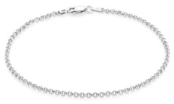2.2mm Oxidized Plated Silver Cable Rolo Chain Necklace, 7'-30