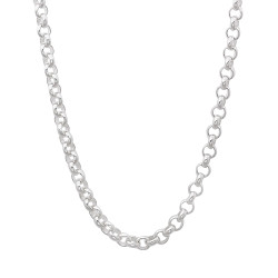 3.2mm High-Polished 0.16 mils (4 microns) Rhodium Plated Silver Cable Rolo Chain Necklace, 7'-30