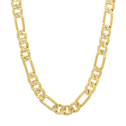 5.7mm High-Polished 0.25 mils (6 microns) 14k Yellow Gold Plated Flat Figaro Chain Necklace, 7 inches
