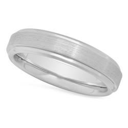 Cobalt 8mm Comfort Fit Wedding Ring w/Brushed Center & Step Edges + Microfiber