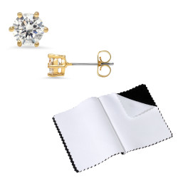14k Gold Plated Round 6 Prong Cubic Zirconia Push Back Stud Earrings