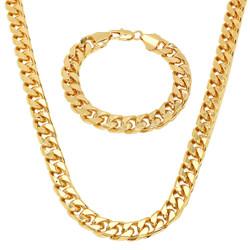 Men's 9.3mm 14k Yellow Gold Plated Flat Miami Cuban Link Chain Necklace + Bracelet Set