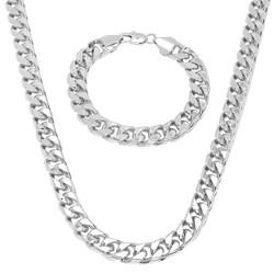 Men's 9.3mm 0.25 mils (6 microns) 14k Yellow Gold Plated Miami Cuban Link Chain Necklace + Bracelet Set,