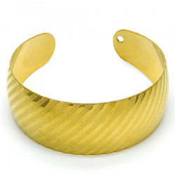 Women 24.7mm Gold Plated Stripped Cuff Bangle Bracelet 7.2' One Size Fits All + Polishing Cloth
