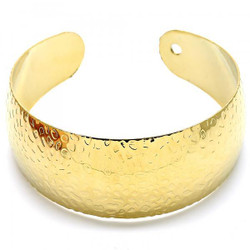 Women 24.8mm Gold Plated Nugget Style Cuff Bangle Bracelet 7.2' One Size Fits All + Polishing Cloth